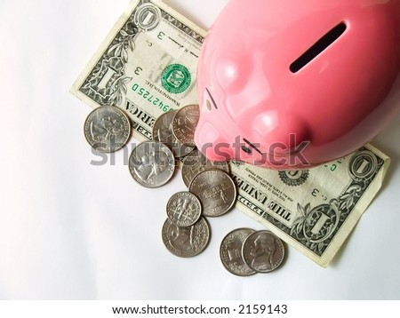 aerial view of piggy bank with money
