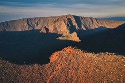 Aerial view of Piton des Neiges (3,070 meters above sea level-10,070 ft) in front of Grand Morne (3,019 meters-9905ft). La Réunion, France