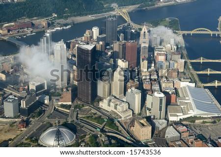 Aerial view of Pittsburgh, Pennsylvania.