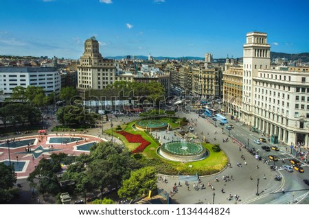 Aerial view of Placa Catalunya on August 17, 2012 in Barcelona, Spain. This square is considered to be the city center and some of the most important streets meet there Foto stock ©