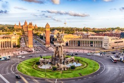 Aerial view of Placa d'Espanya, towards the Venetian Towers and the National Art Museum. This iconic square is located at the foot of Montjuic and it's a major landmark in Barcelona, Catalonia, Spain