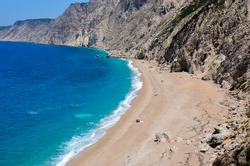 Aerial view of Platia Ammos Beach, in Kefalonia, Greece