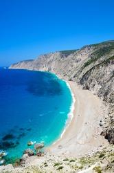 Aerial view of Platia Ammos Beach, in Kefalonia, Greece - potrait layout