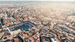 Aerial view of Plaza Mayor in Madrid,Spain. Plaza Mayor is a central plaza in the city of Madrid. Beautiful sunny day in city,architecture and landmark of Madrid. Center of capital of Spain