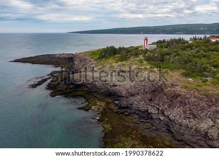 Aerial view of Point Prim Lighthouse, near Digby, Nova Scotia. Stock foto ©