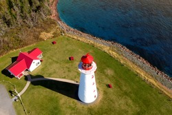 Aerial view of Point Prim lighthouse, Prince Edward Island, Canada