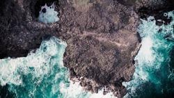 Aerial view of Pont Naturel Mauritius. Natural stone bridge, atraction of southern coastline in  Mauritius.