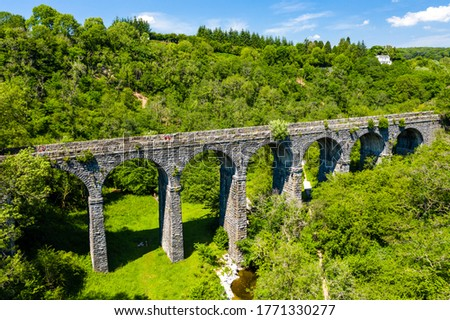 Aerial view of Pontsarn Viaduct near Morlais and Merthyr Tydfil in South Wales. The viaduct is now part of the Taff Trail walking and cycle network Photo stock ©