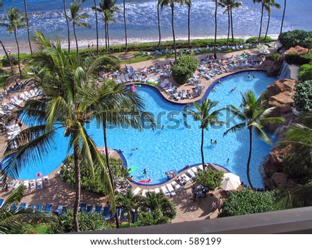 Aerial View of Pool - stock photo