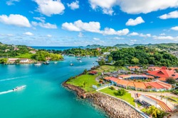 Aerial view of port Castries with duty free shops. Popular for cruise passengers. Saint Lucia, Caribbean Island.