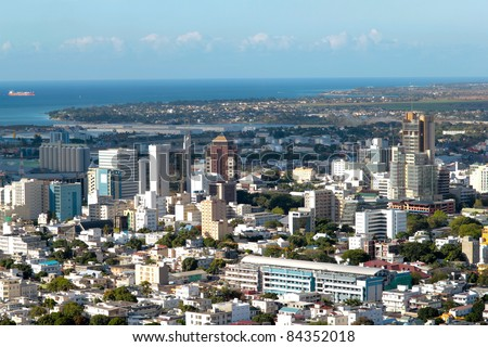 Aerial view of Port-Louis capital of Mauritius