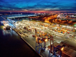 Aerial View of Port of Philadelphia at Night