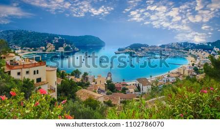 Aerial view of port Soller in Majorca island, Spain