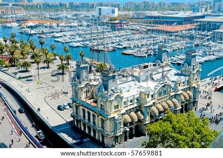 Aerial view of Port Vell and Maremagnum, in Barcelona, Spain