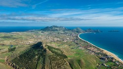 Aerial view of Porto Santo island with