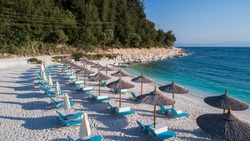 Aerial view of Porto Vathy beach. Thassos island, Greece