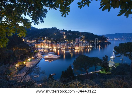Aerial view of Portofino, Italy, at dusk