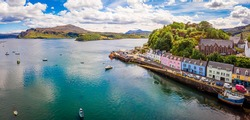 Aerial view of Portree, Isle of Skye, Scotland, UK