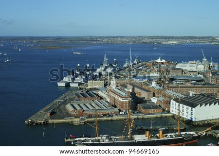 Aerial view of Portsmouth Harbour and Navy Dockyard from the Spinnaker Tower. Hampshire. England