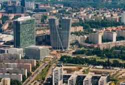 Aerial view of Prague 4. Modern architecture in Prague. Czech Republic.