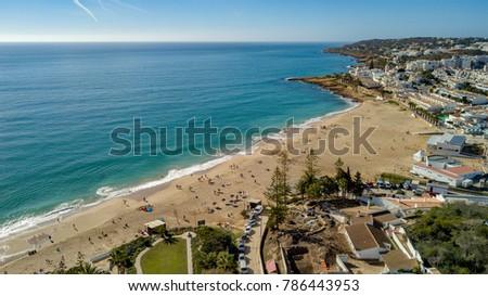 Shutterstock Aerial view of Praia da Luz Beach and Praia da Luz Village