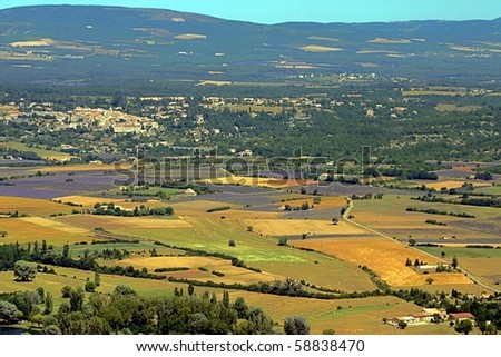 Aerial view of Provence with lavender fields, France