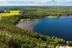 Aerial view of Pulkkilanharju Ridge on lake Paijanne, Paijanne National Park, Finland.