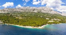 Aerial view of Punta Rata beach in Brela, Dalmatia, Croatia