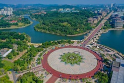 Aerial View Of Putra Square With Straight Putrajaya Road View