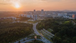 Aerial view of Putrajaya landmark iconic City during sunrise
