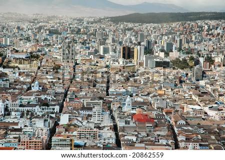 Aerial view of Quito Ecuador
