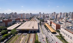 Aerial view of Radial Leste avenue, in the Tatuape district, east region of Sao Paulo city, Brazil.