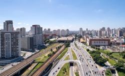 Aerial view of Radial Leste avenue, Tatuape shopping mall, Tatuape train and subway station, in the Tatuape district, east region of Sao Paulo city, Brazil.