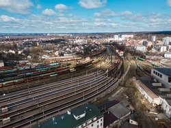 aerial view of railroad hub sunny day copy space