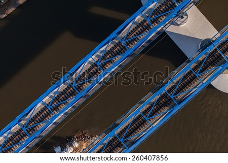 aerial view of railway bridge in Poland #260407856