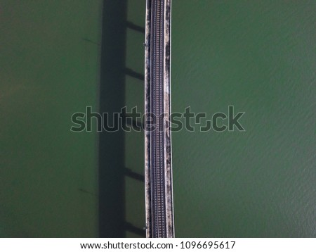 aerial view of railway bridge...
