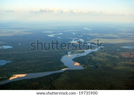 Aerial view of rainforest at the Araguaia River on the border of the states of Mato Grosso and Goias in Brazil