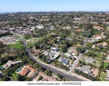 Aerial view of Rancho Santa Fe neighborhood with big mansions with pool in San Diego, California, USA. Aerial view of residential modern luxury house. Сток-фото ©