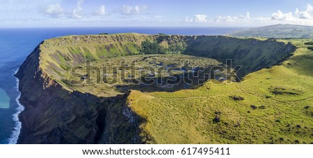 Aerial view of Rano Kau volcano on Easter Island, Chile Zdjęcia stock ©
