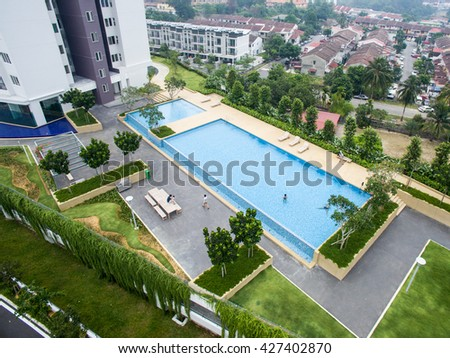 aerial view of rectangle swimming pool - Rectangle Pool Aerial View