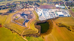 Aerial view of recultivated  landscape after mining. Dump from old underground mine. Climate change concept. Back to nature. Western Bohemia, Czech Republic, European Union.