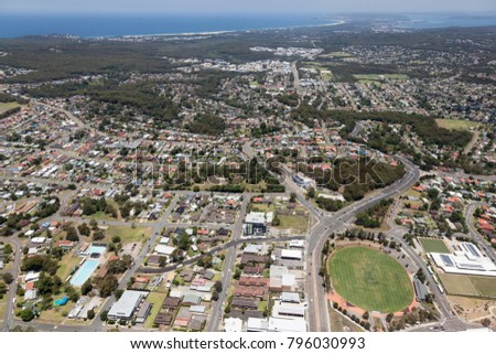 Aerial view of residential areas of Newcastle and Lake Macquarie. Charlestown Whitebridge and Gateshead surburbs looking south towards Readhead Beach and Lake Macquarie.