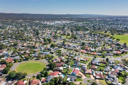 Aerial view of residential houses in the suburb of South Penrith in greater Sydney in New South Wales in Australia