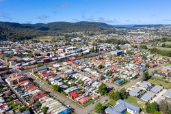 Aerial view of residential housing in the town of Lithgow in regional New South Wales in Australia