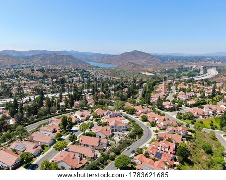 Aerial view of residential neighborhood in green valley, Rancho Bernardo, San Diego County, California. USA.  Сток-фото ©