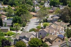 Aerial view of residential neighborhood in San Jose, south San Francisco bay, California