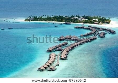 Aerial View of Resort Water Bungalows