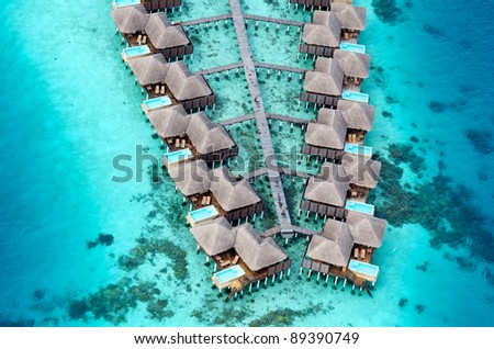 Aerial View of Resort Water Bungalows