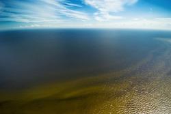 Aerial view of Riga gulf, Baltic sea.