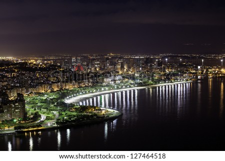 Aerial view of Rio De Janeiro by night